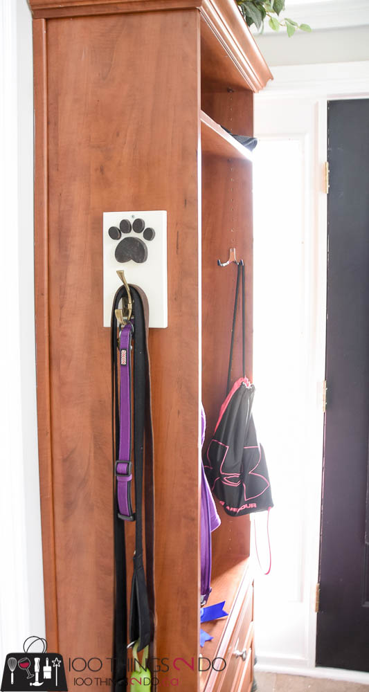 Leash hook, leash holder, DIY leash holder, dog leash hook, scrap wood project, pet leash, pet organization
