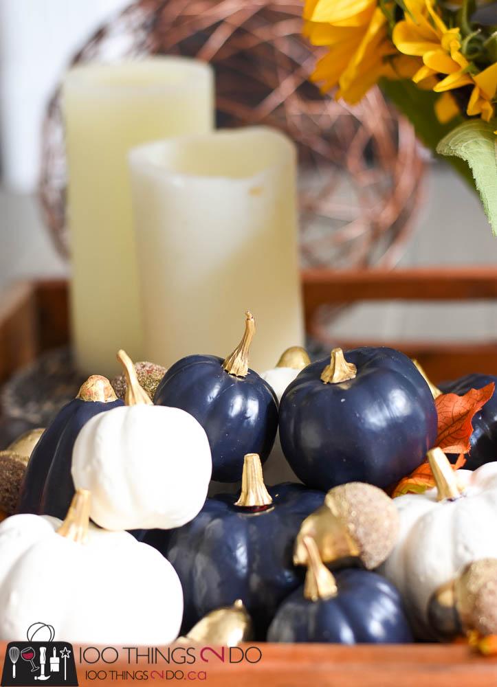 dollar store pumpkins, painted pumpkins, mini pumpkins, make your own white pumpkins, coffee table vignette, fall vignette
