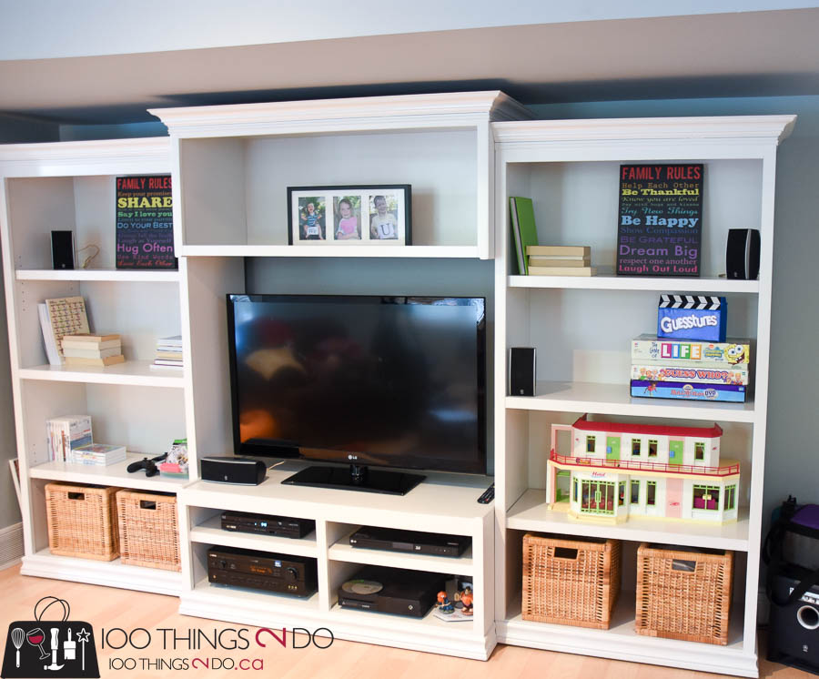 Painted entertainment centre, refinished entertainment centre, painted entertainment center, Kari's cabinets, painted media cabinets, painted bookshelves