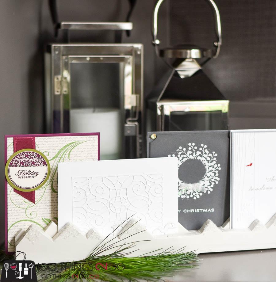 Greeting card holder, Christmas card display, displaying Christmas cards, DIY card holder, DIY card stand, Holiday card display, Half-Hour Holiday Challenge