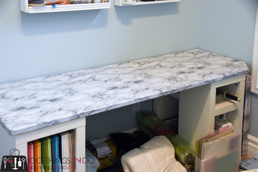 Desk makeover, faux marble, marble paper, craft desk, peel and stick, One Room Challenge, ORC Week 5