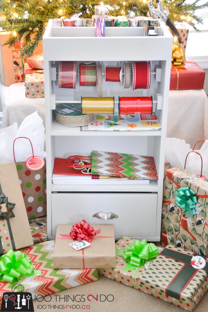 20 Simple Christmas DIYs, gift wrap station, wrapping paper caddy, gift wrap organization, Christmas DIY, Easy Christmas crafts, DIY Christmas decor