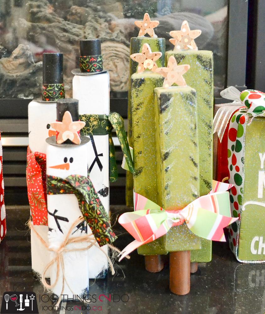20 Simple Christmas DIYs, scrap wood trees, scrap wood snowmen, wooden trees, wooden snowmen, Christmas DIY, Easy Christmas crafts, DIY Christmas decor