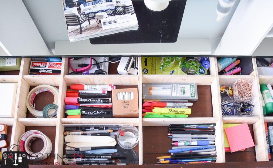 Drawer dividers, Home office organization