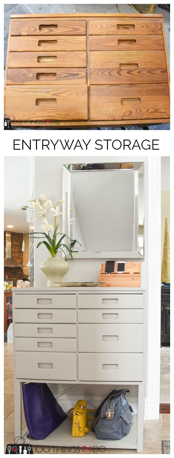 Entryway table, hall table, entryway organization, entryway storage, hall organization, hall storage, repurposed dresser