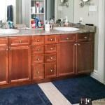 Bathroom makeover, painting bathroom cabinets, navy bathroom cabinets