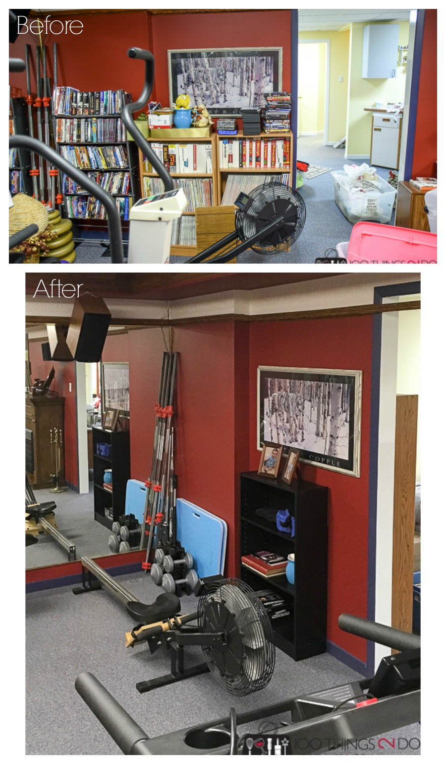 Basement makeover, home gym, One Room Challenge Spring 2018, ORC Spring 2018, theatre room makeover, home gym makeover