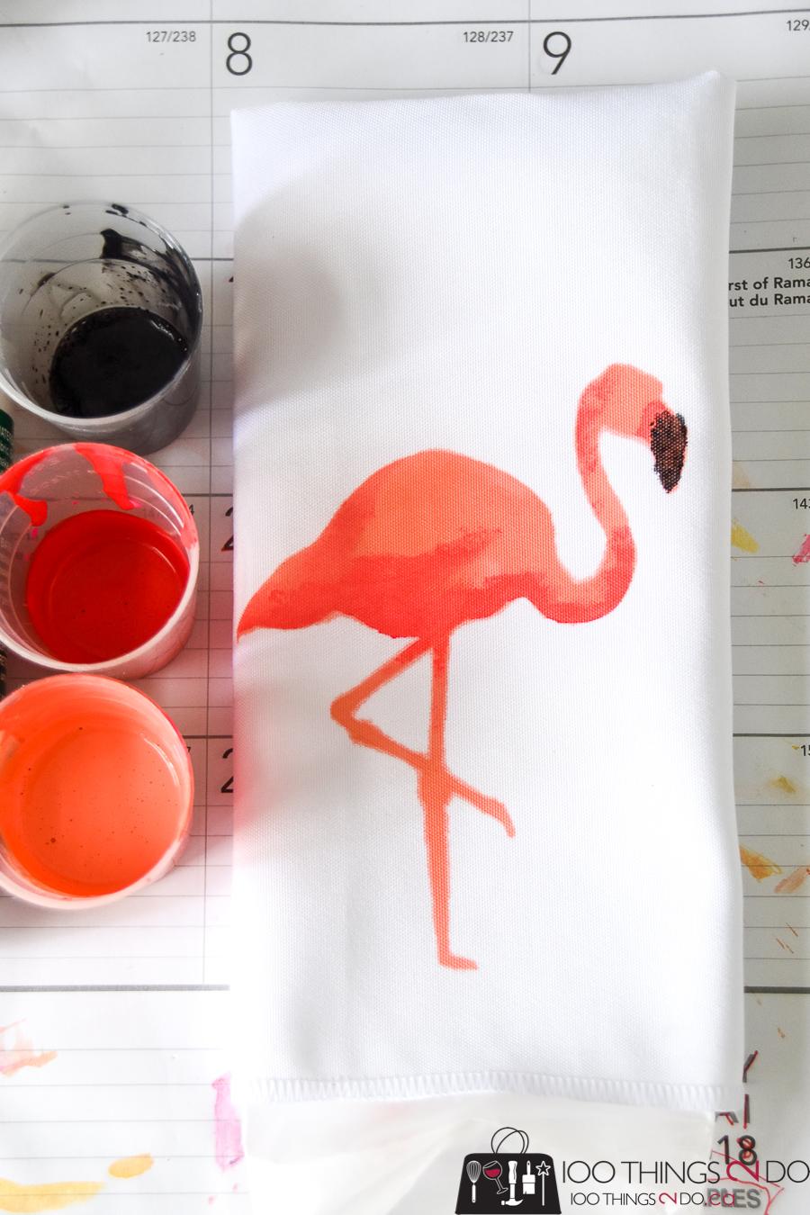 DIY napkins, Flamingo napkins, fabric painted napkins, make your own napkins, painted napkins, custom napkins