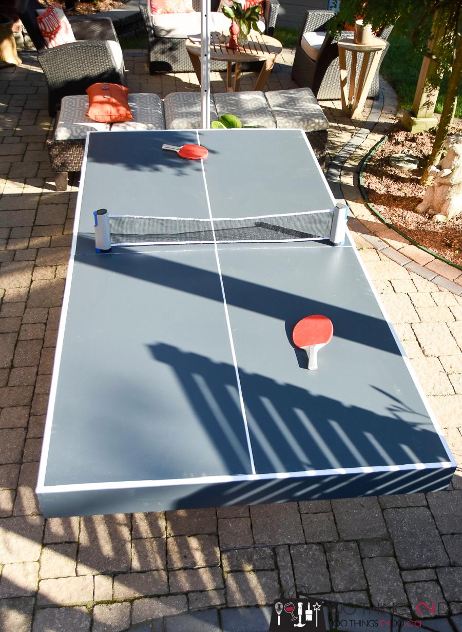 DIY ping pong table, ping pong table, folding ping pong table, backyard fun, backyard games