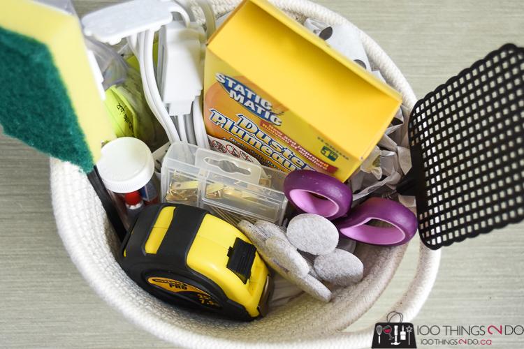 Housewarming gift ideas, housewarming gift, dollar store gift basket, new apartment gift, dorm gift