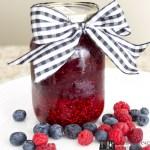 Super-simple freezer jam, freezer jam, raspberry jam, easy raspberry jam