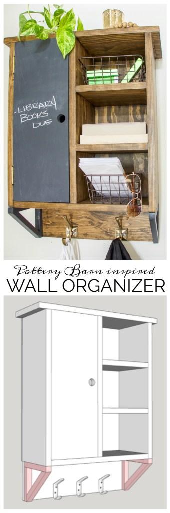 Wall organizer, DIY wall organizer, Pottery Barn inspired wall organizer, pet organizer, storage rack, front door organizer, pet organizer