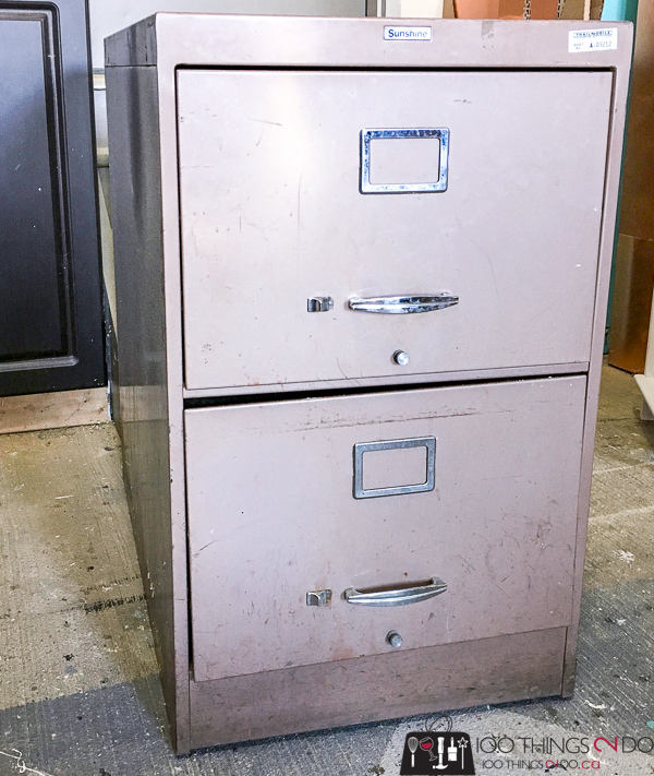 old filing cabinet before makeover
