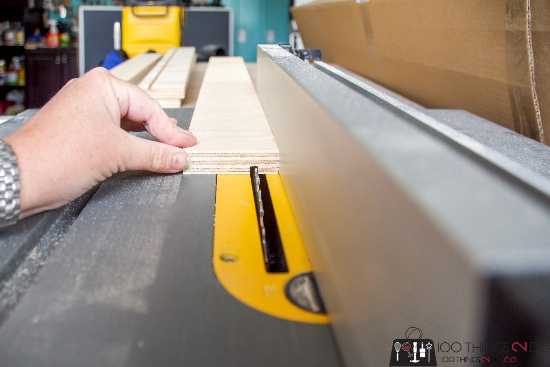 ripping a dado groove into shelf boards