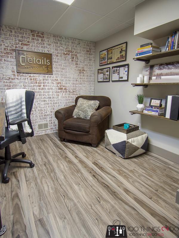 Rustic industrial office, rustic-industrial, basement office, basement home office, masculine office