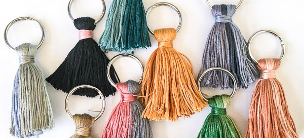 Embroidery floss tassles, embroidery thread tassles, tassle keychain, DIY tassle keychain or earrings