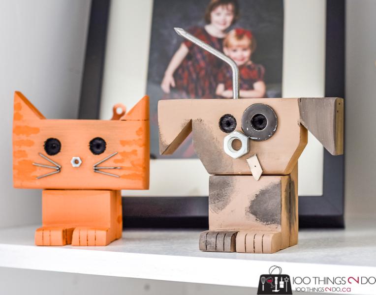 scrap wood pet, scrap wood cat, scrap wood dog, dog robot, cat robot