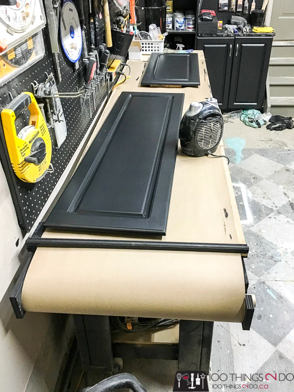 workbench upgrade, workshop upgrade, workbench paint table, assembly table, paint table with paper spool