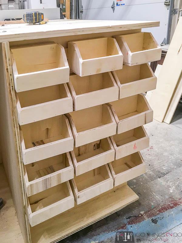 Workbench bins, screw storage, DIY storage bins, bolt bins, small parts bins