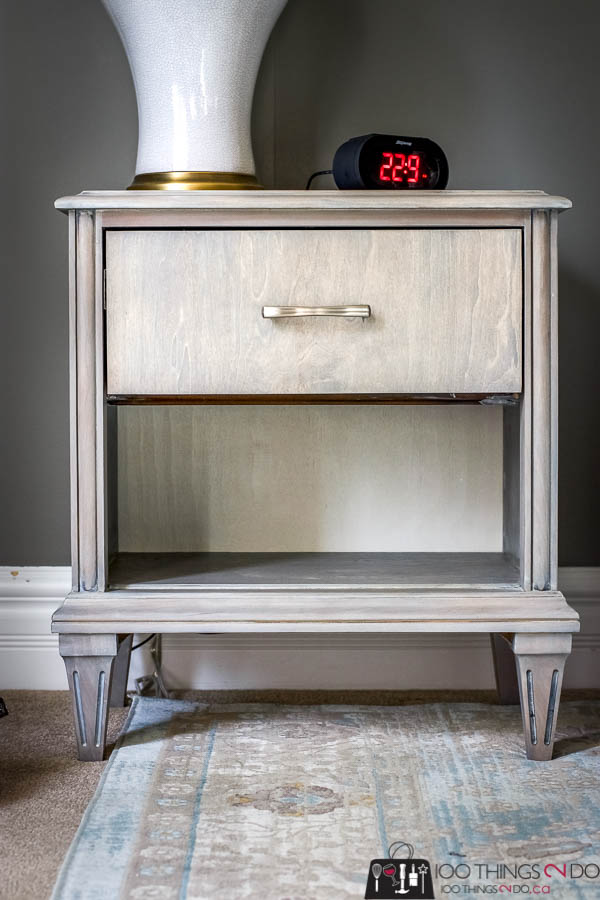 Nightstand makeover, bedside table makeover, grey nightstand, gray nightstand, gray bedside table, refinished nightstand