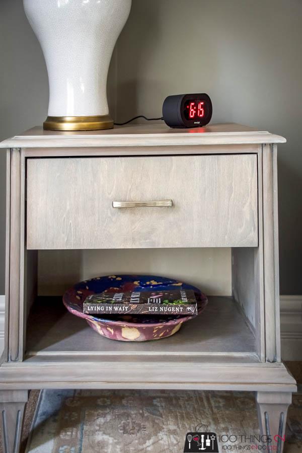 Nightstand makeover, bedside table makeover, grey nightstand, gray nightstand, gray bedside table, refinished nightstand