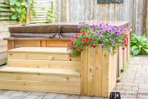 hot tub steps, steps for hot tub, 2 steps, steps with planter, DIY steps