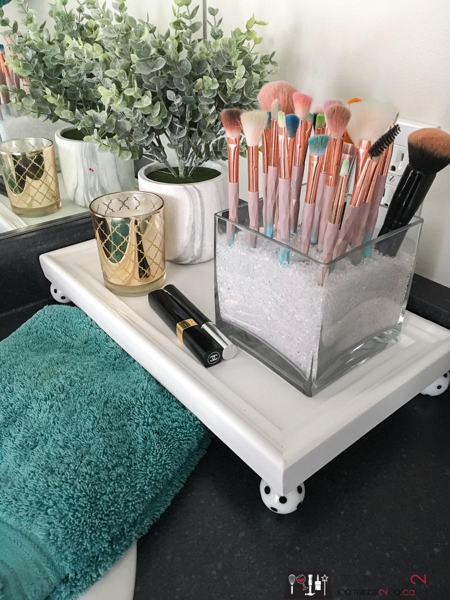simple raised tray, tiered tray, DIY tray with legs, repurposed door tray, bathroom tray, bathroom vanity vignette