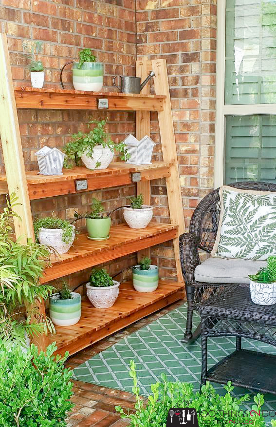 freestanding plant shelf, plant shelves, cedar plant stand, plant stand, Crate & Barrel knock-off, DIY plant stand