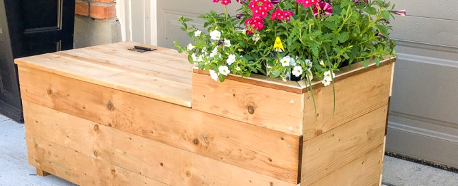 Porch planter bench, porch planter, DIY bench, storage bench, porch bench, DIY planter
