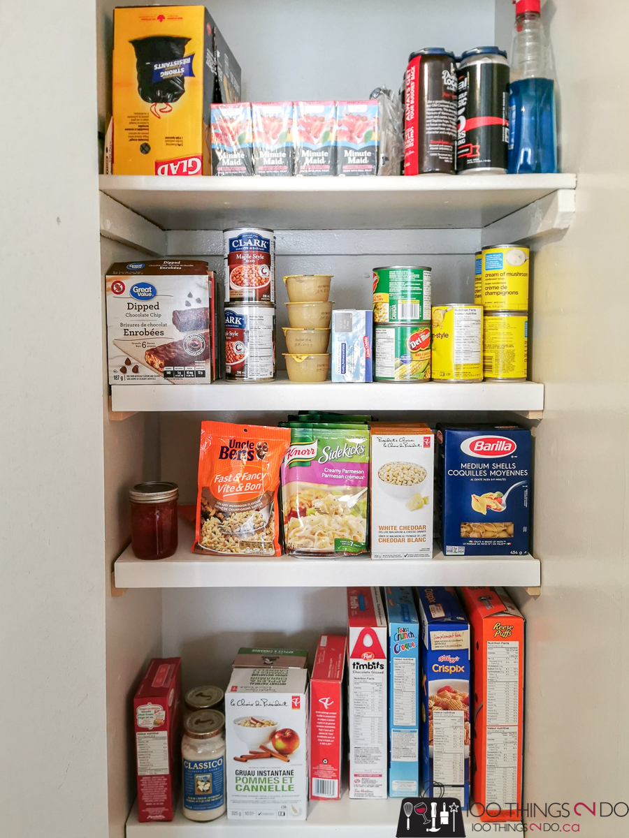 pantry shelves, quick and easy pantry shelves, organized pantry, pantry organization