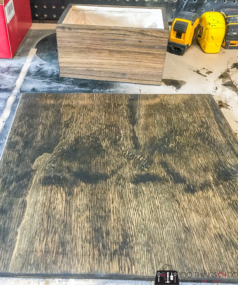 dark walnut stain on plywood