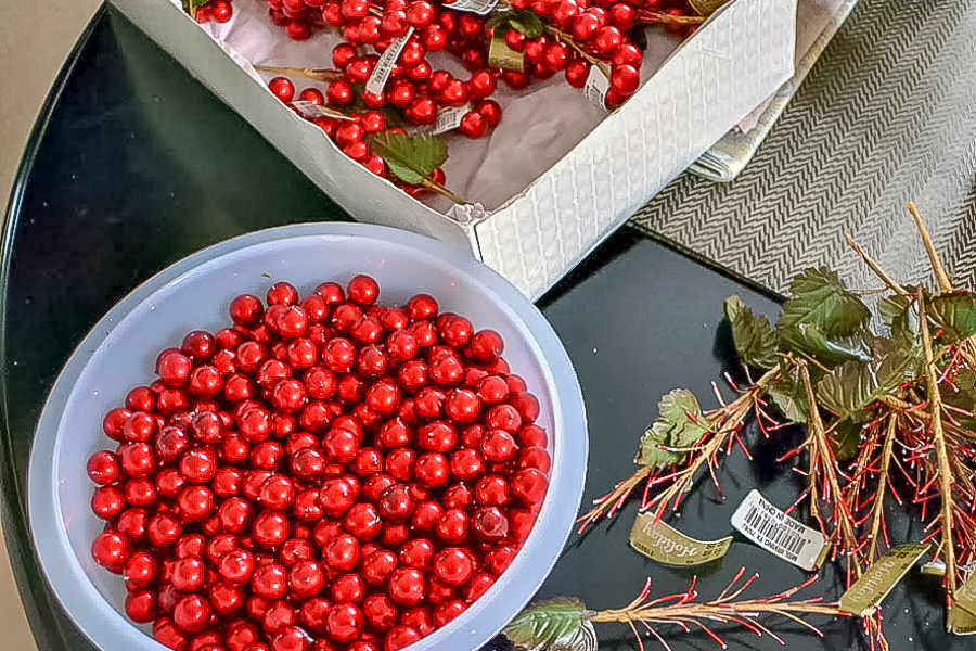 cut berries off of stems and set aside