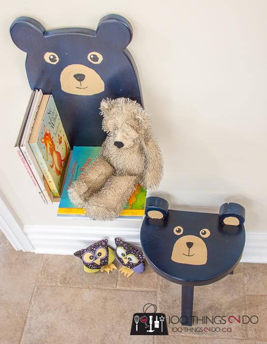 Beautifull kid/'s stool shaped like a bear