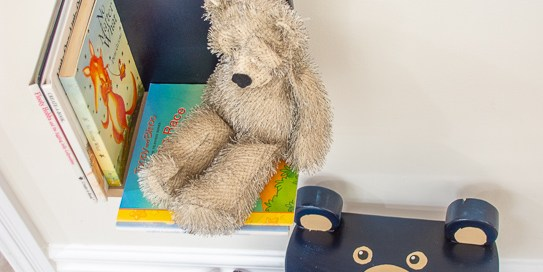 toddler room idea - bear shelf and bear stool