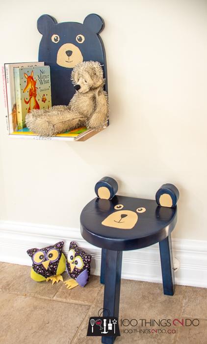 toddler room idea - bear shelf and bear stool