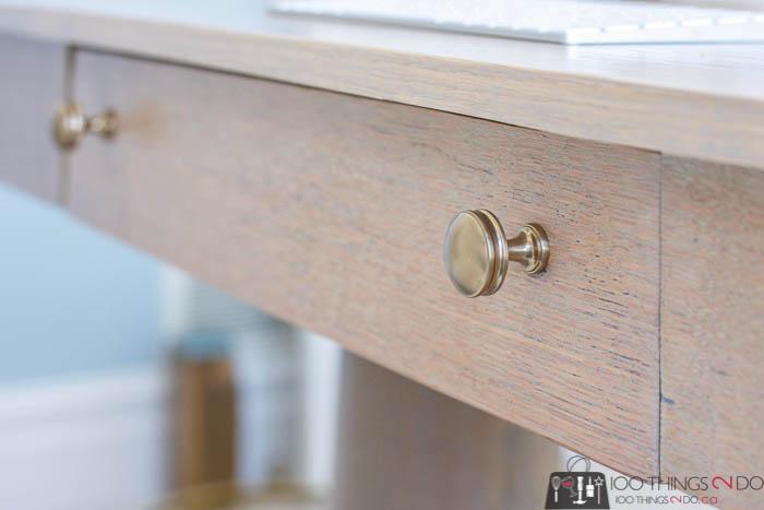 new hardware on antique desk