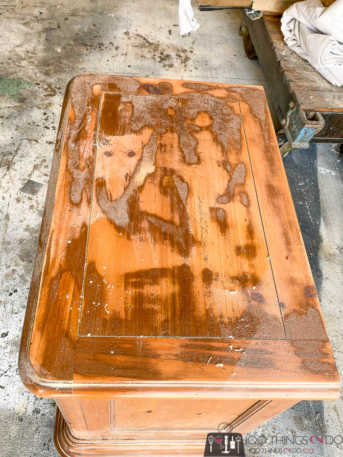 partial sanding of nightstand