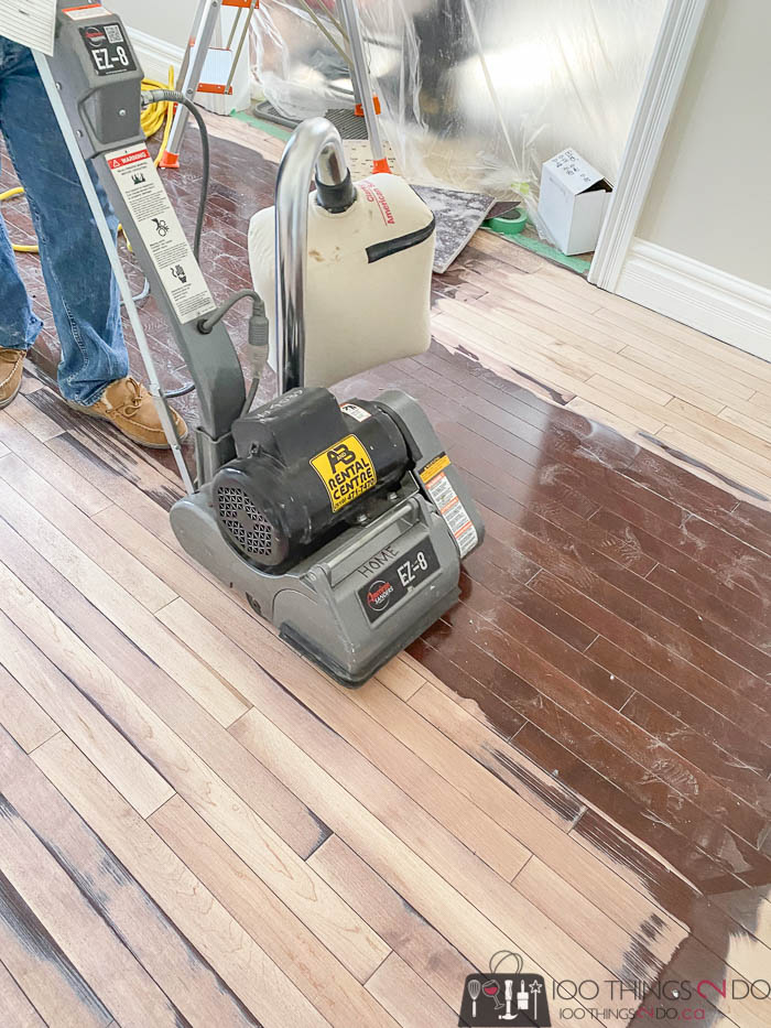 using a drum sander to refinish floors