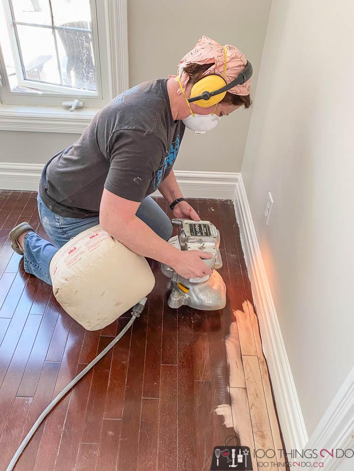 using an edging sander on hardwood floors