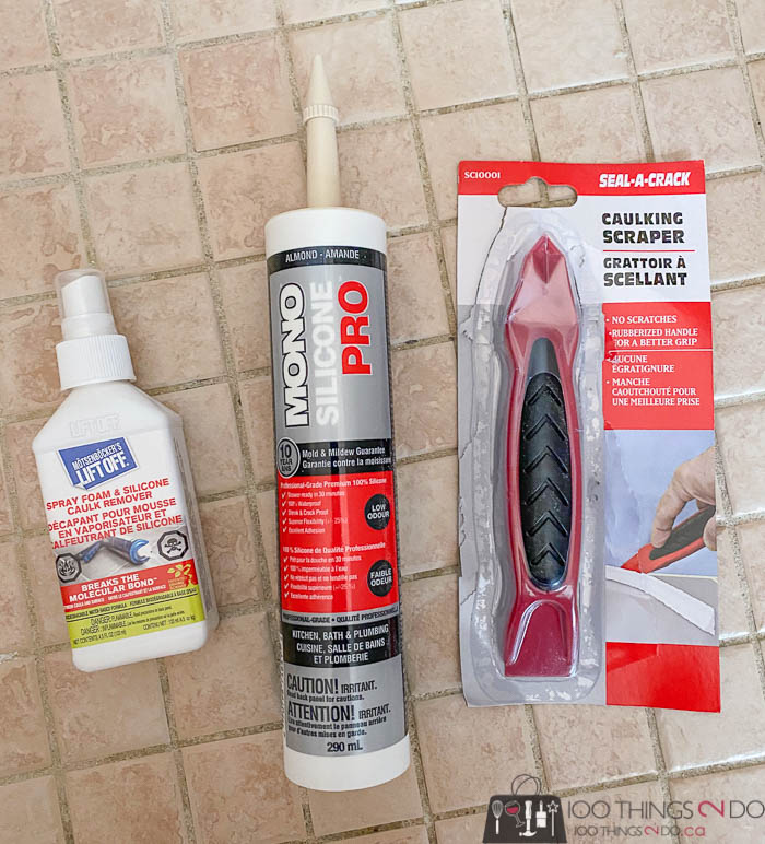 supplies for re-caulking your shower