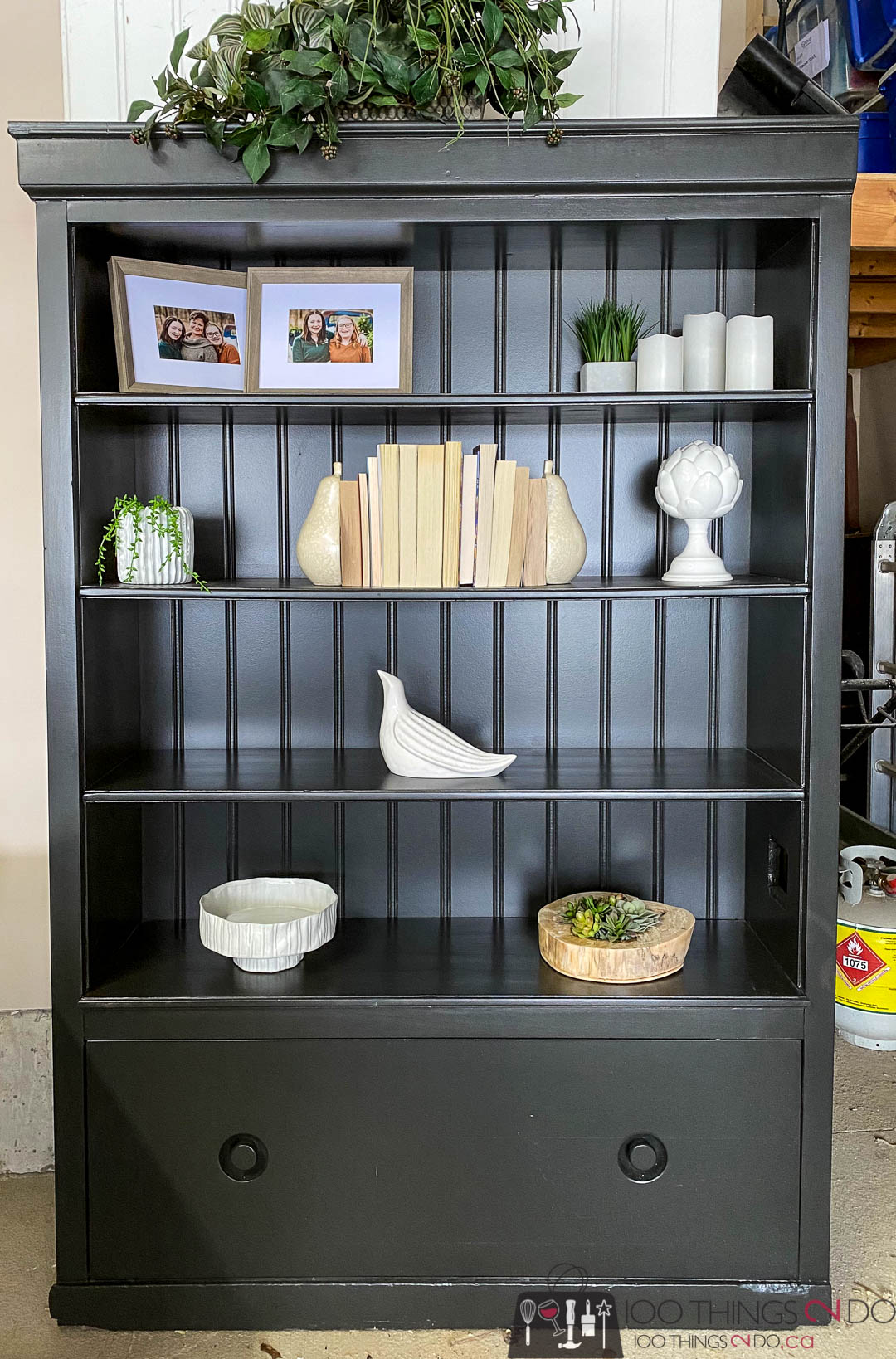 black bookcase, bookcase makeover, black bookcase with bead board backing