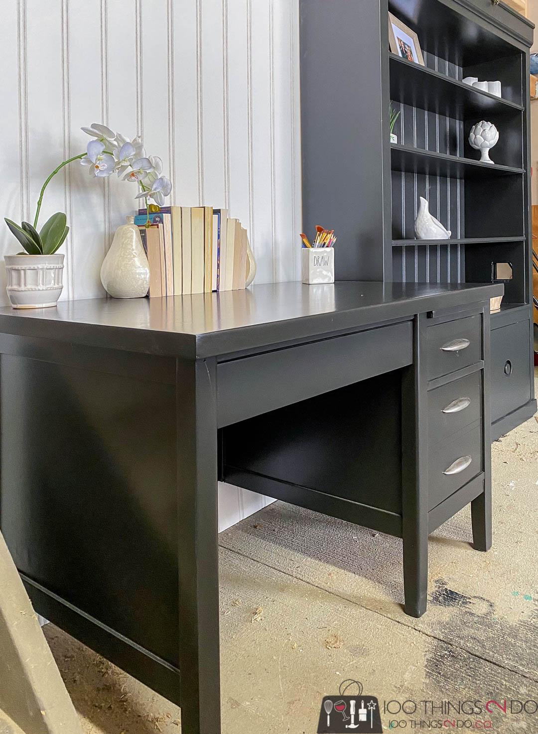 desk makeover, black desk makeover, teacher's desk makeover, black desk, oak desk, black desk