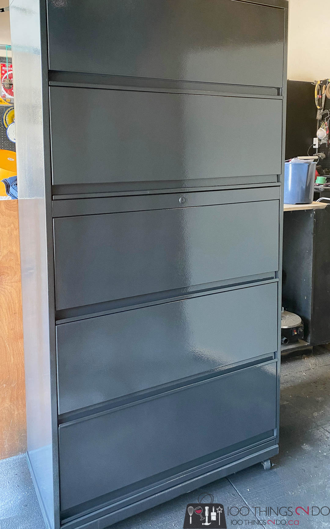 spray painting filing cabinets