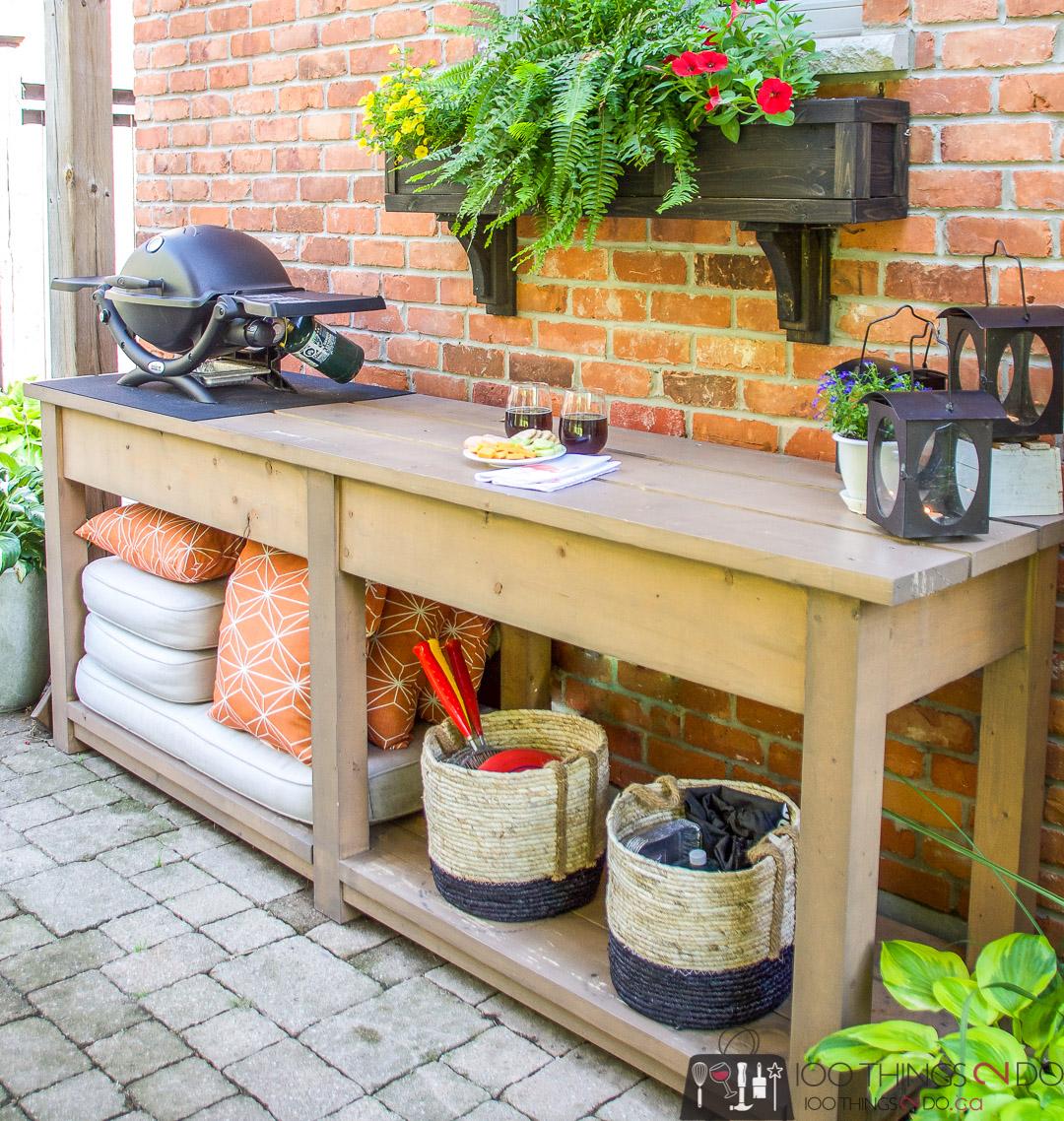 patio console table, mini barbecue table, mini bbq table, patio bar, patio prep station