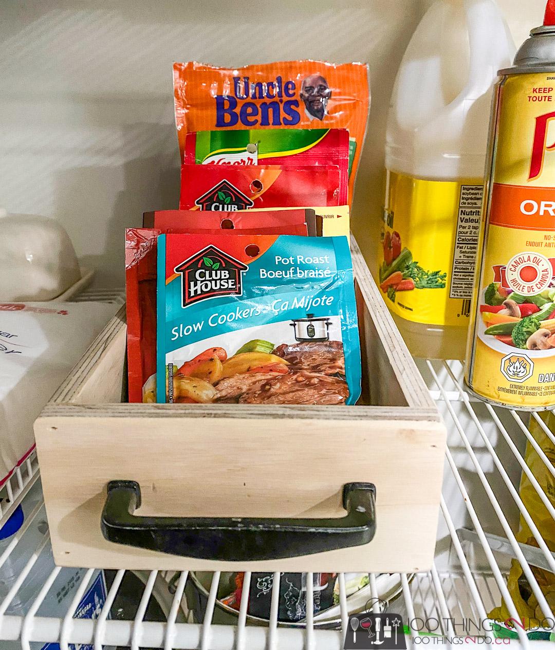 pantry organizer, spice packet organizer, small tray