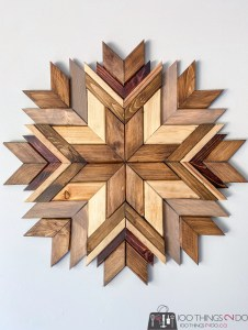 wood art, wood mosaic, wood snowflake, scrap wood project