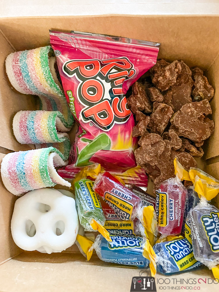 candy box, candy charcuterie, goodie box