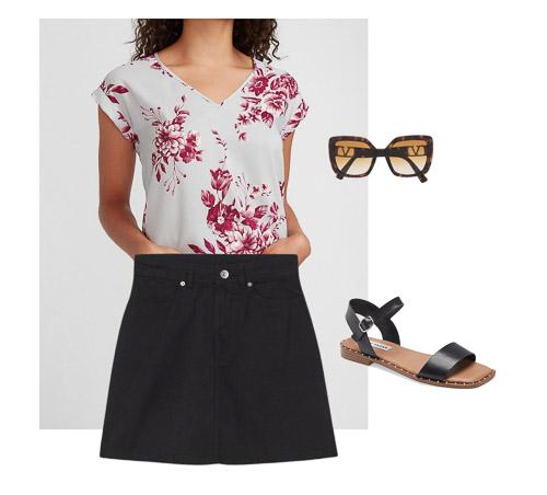 floral t-shirt, black skirt, Summer capsule wardrobe
