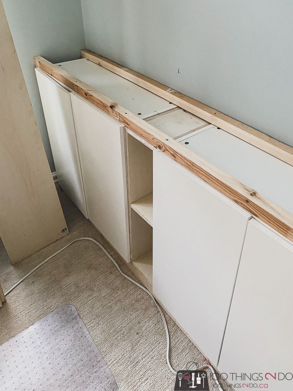 connecting the base cabinets