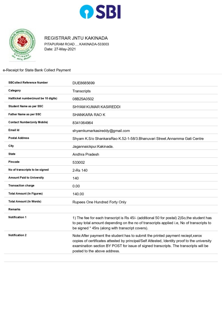 JNTUK Transcripts payment